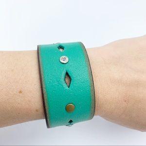 ⭐️Teal Leather Embellished Bracelet